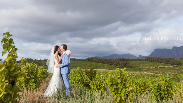 Bridal couple in vineyards