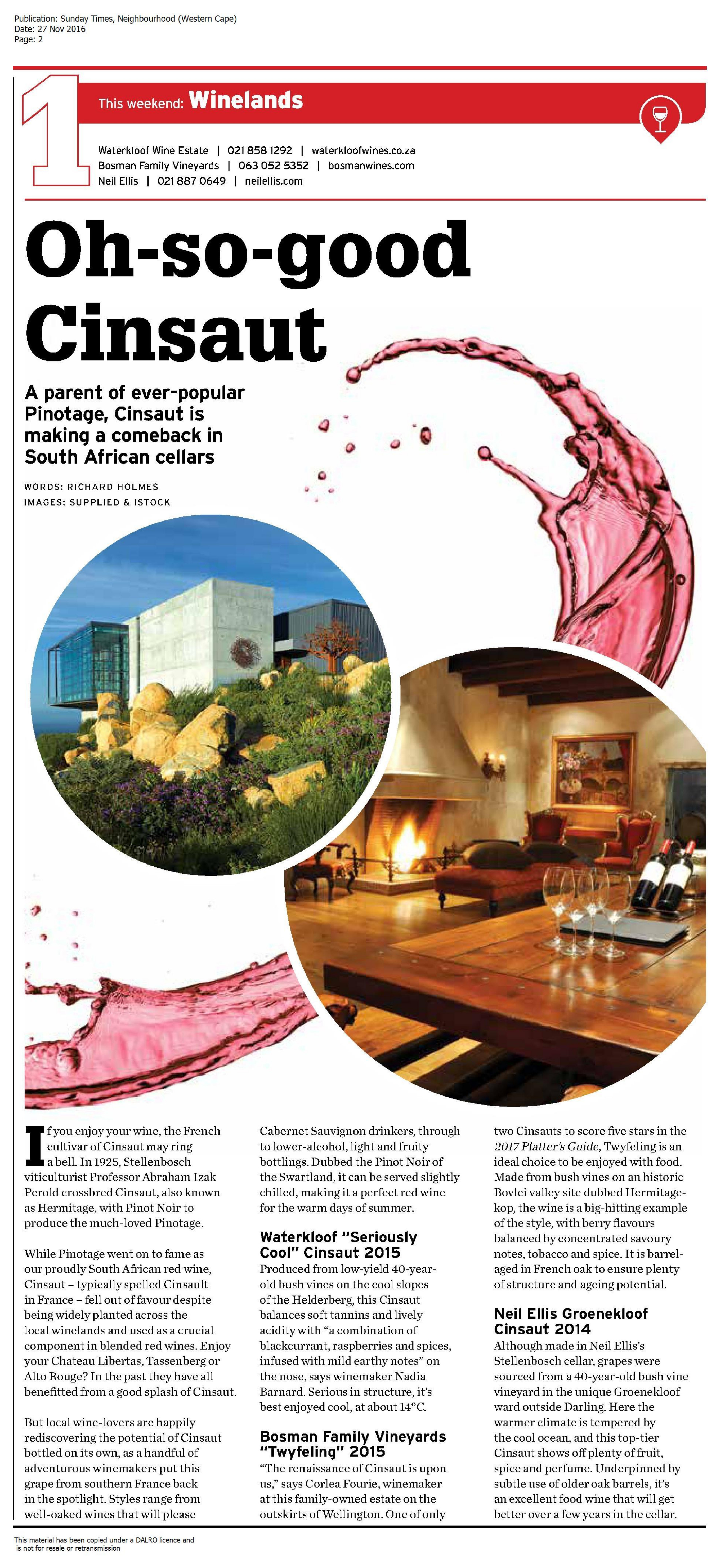 Cinsault in the Sunday Times - Waterkloof WinesWaterkloof Wines